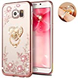 Galaxy S7 Edge Floral Crystal TPU Case--Inspirationc Soft Slim Bling Plating Rubber Cover for Samsung Galaxy S7 Edge with Rhinestone Diamond and Detachable 360 Ring Stand--Rose Gold and Pink