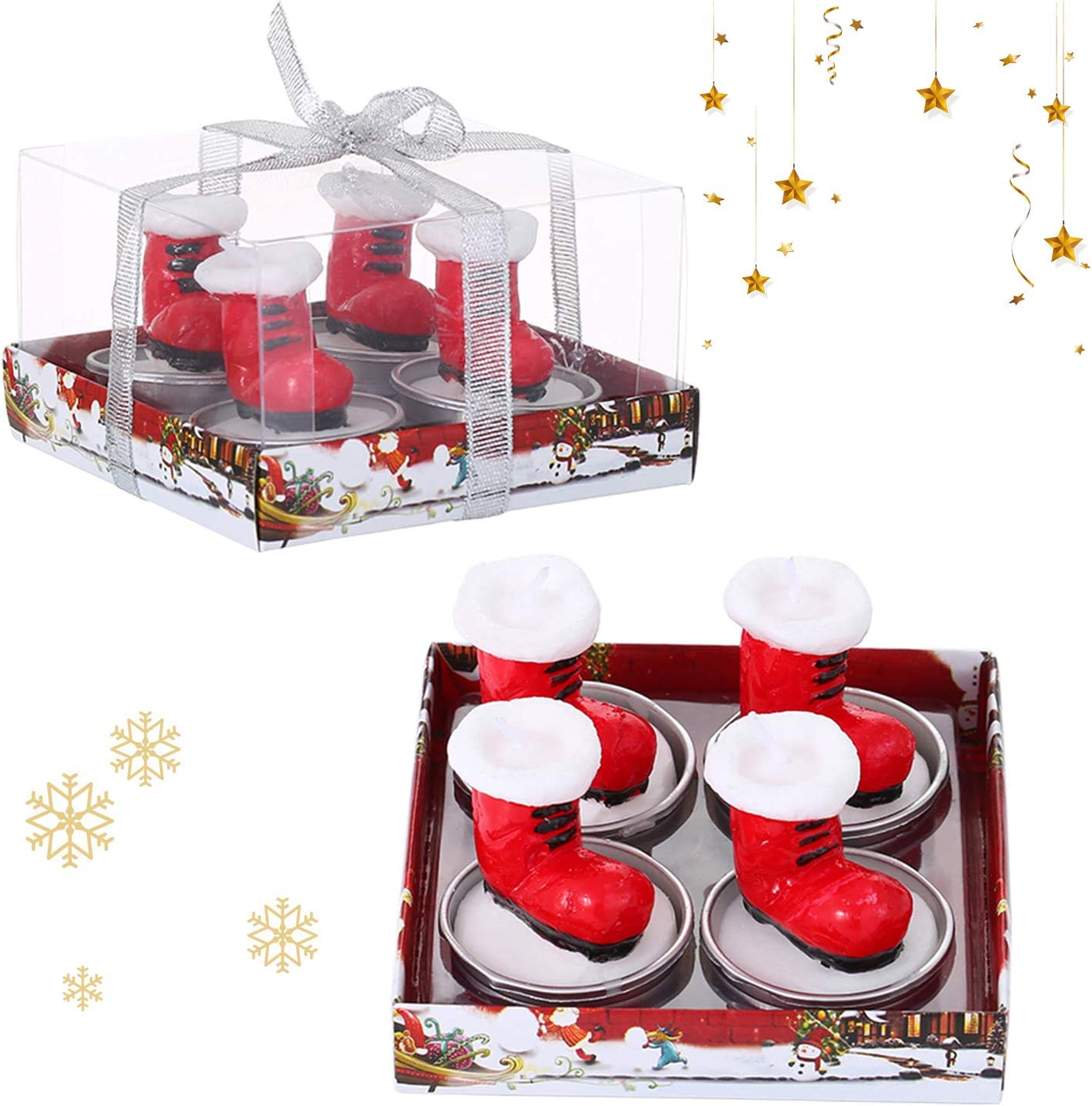 SIXPEN Christmas Tea Lights Candles for Birthday Home Party Wedding Holiday Celebration Decoration Christmas Ornaments(Boot): Home & Kitchen