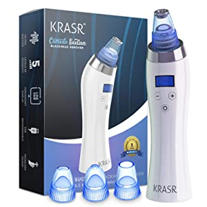 Krasr Comedone Suction Blackhead Remover - Acne Cleanser Dermabrasion Extractor Facial Machine - Nose Pimple Pores Removal Microdermabrasion Skin Vacuum Device