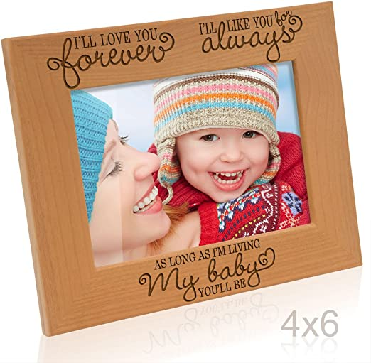 Engraved Leather Picture Frame as long as Im living Ill like you for always Wedding Gifts 5x7-Horizontal Valentines Gifts New Baby Gifts my Baby youll be Kate Posh Ill love you forever