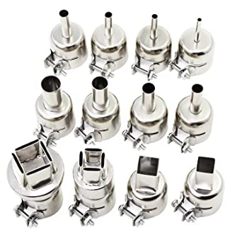 12Pcs Heat Gun Nozzle Kit Tool for 850 Hot Air Soldering Rework BGA Nozzles