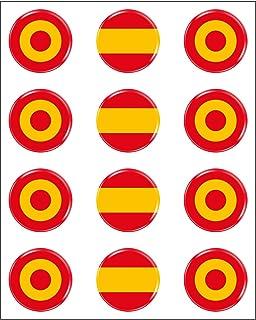 Pegatinas Escarapela España Redondas 8 x Pegatina Bandera España Resina Relieve 3D Diana Adhesivo Vinilo: Amazon.es: Coche y moto