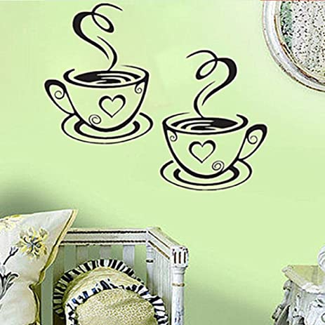 Amazoncom Coffee Cups Cafe Tea Wall Stickers Art Vinyl Decal - Vinyl stickers for cups