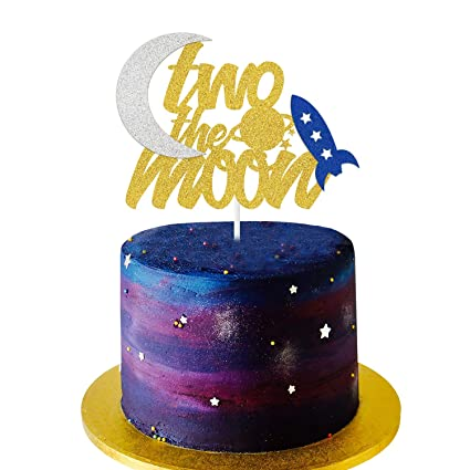 Swell Two The Moon Cake Topper Two The Moon With Stars Rocket And Planet Funny Birthday Cards Online Inifofree Goldxyz