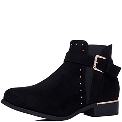 579744a4353d Spylovebuy SULFER Women s Wide Fit Flat Chelsea Ankle Boots  Amazon ...