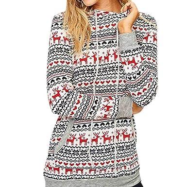 257711fffb54 TianWlio Weihnachten Pullover Langarmshirt Bluse Hoodie Frauen Herbst  Winter Weihnachten Pullover Schnee Muster Blumenmuster Hoodie Beiläufig  Tops Bluse  ...