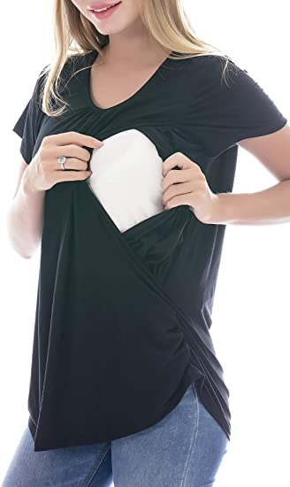 Smallshow Camisa de Lactancia Materna de Manga Larga para Mujer