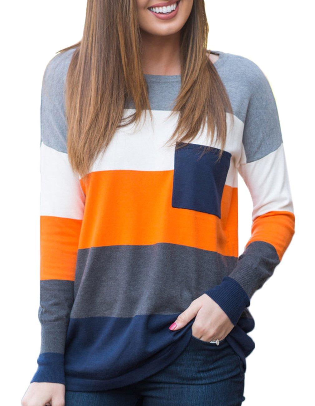 Women's Long Sleeve Striped Blouse Tunic Top (Large, Orange)