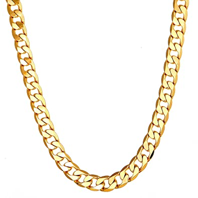 54516fd3303a3 Followmoon 18K Gold Plated Link Cuban 7mm Necklace Chain Mens Jewelry for  Men