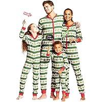Hzjundasi Familia Navidad Mono Pieza Pijamas - Navidad Impreso Mono Padre-Hijo Bodysuit Familia Pijama Ropa de casa