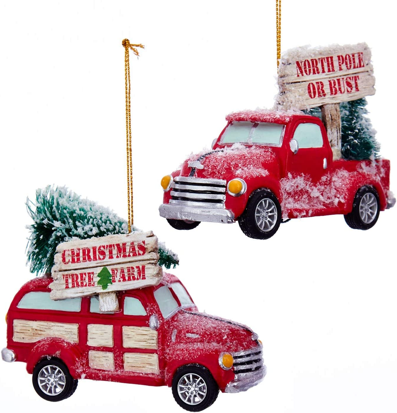Kurt Adler Cozy Cottage Red Woody and Pickup Truck Christmas Holiday Ornaments Set of 2