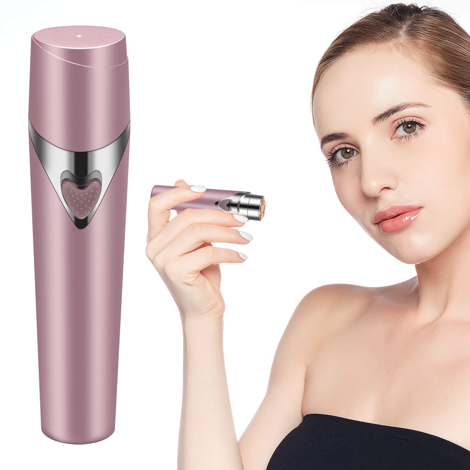 Facial Hair Remover for Women, Painless Women\'s Electric Shaver Face Hair Removal Razor for Chin Hair, Upper Lip Moustaches, Peach Fuzz and Cheek