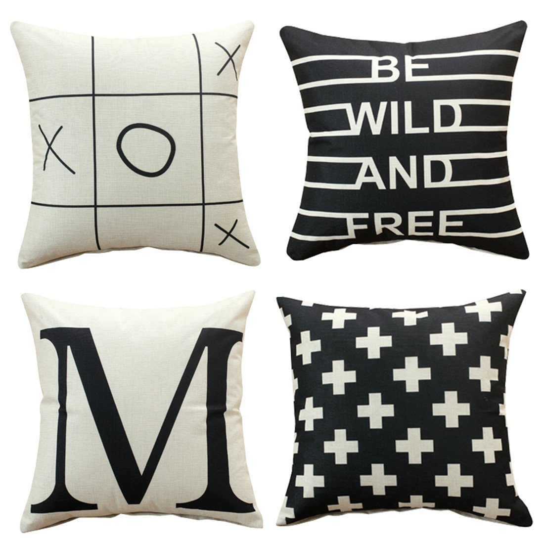 Sunday praise set of 4cotton linen decorative throw pillow covers simple geometricenglish letters design accent handmade 18x18 inch square cushion cover