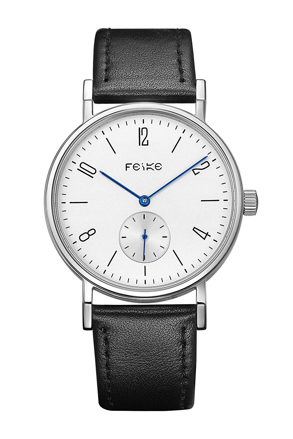 FEICE Automatic Mechanical Men's Watch Chronograph Wrist Watch for men Stainless Steel Leather Watch Bands Casual Simple Business Watch Best Gift #FM201(Black-1) …