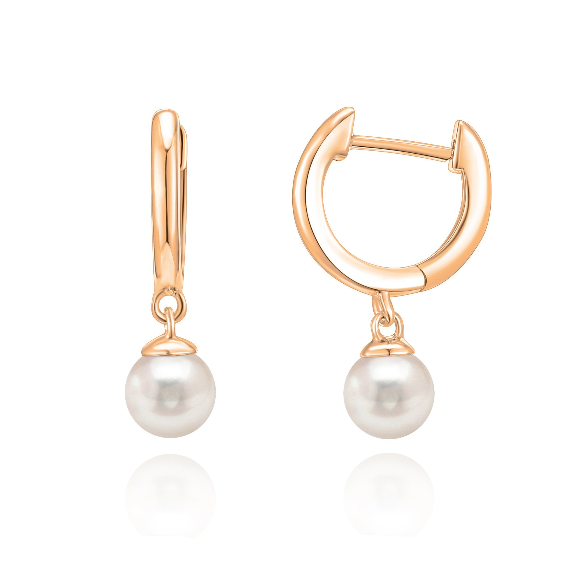 PAVOI 14K Rose Gold Plated Shell Pearl Leverback Huggie Drop Earring