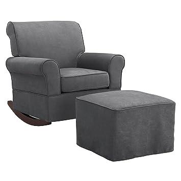 Baby Relax The Mackenzie Microfiber Plush Nursery Rocker Chair, Grey