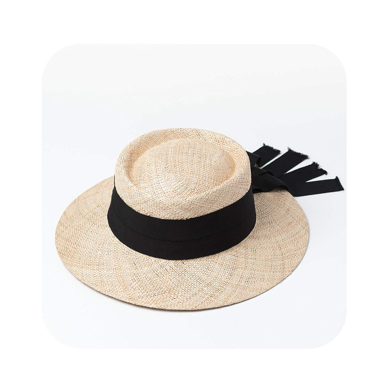 002 Black Women Sun Hat Summer Holiday Beach Hats Ladies Tope Hat wi,