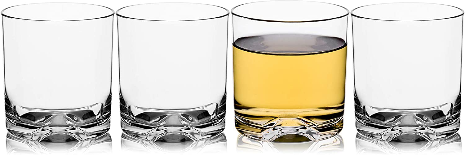 Unbreakable Tritan Plastic Whiskey Rocks Glasses Tumblers Double Old Fashioned Cups for Drinking, Beer, Cocktails Glassware 9 OZ, Shatterproof, BPA-FREE, Dishwasher safe Set of 4