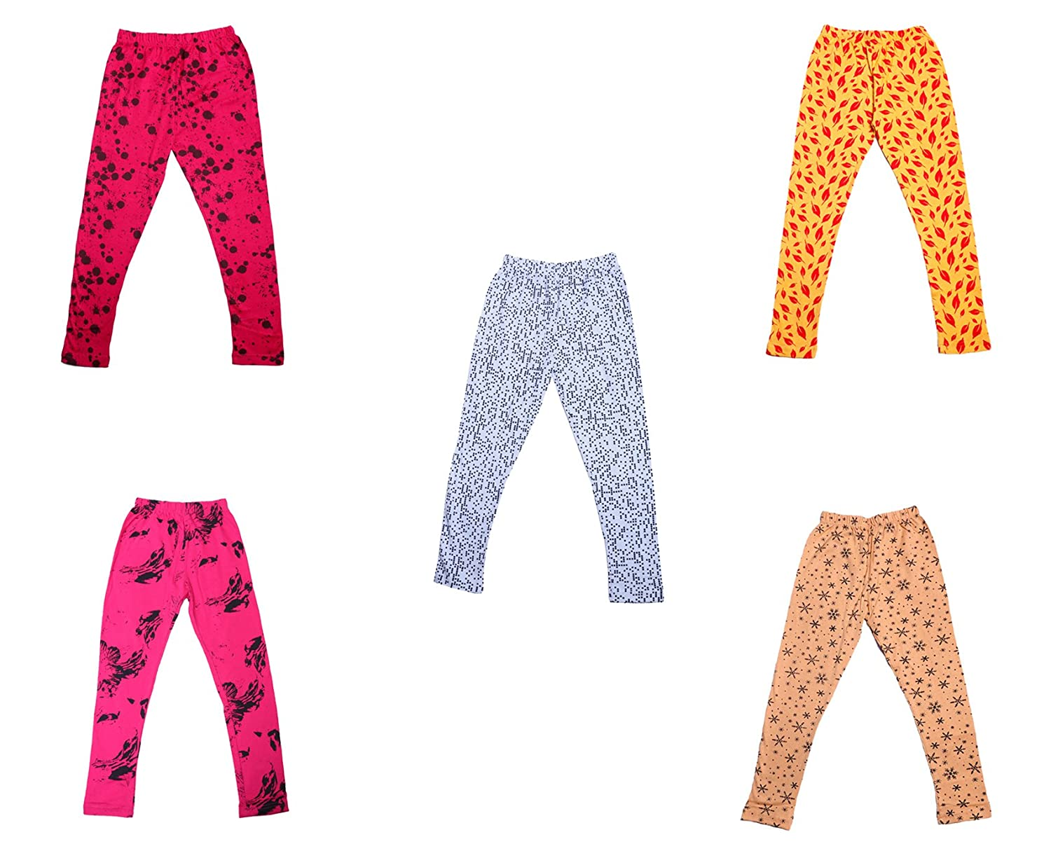 Indistar Girls Super Soft and Stylish Cotton Printed Churidar Legging Pants Pack of 5