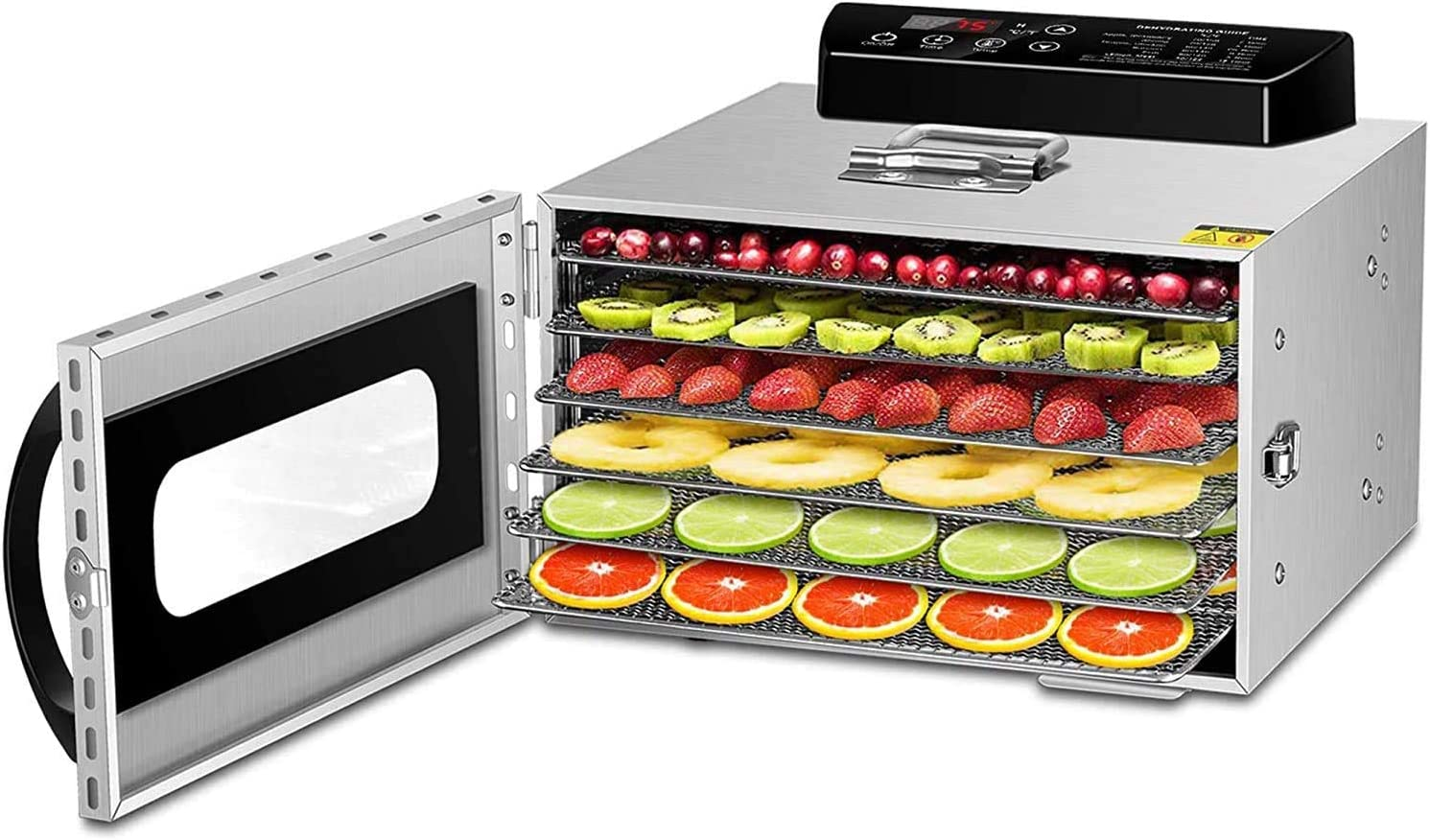 METAWELL Premium Food Dehydrator Machine, 6-Tray Food Dryer Keep Warm Function Stainless Steel Digital Timer and Temperature Control for Meat, Jerky, Herb, Beef, Fruit, Nuts, Herbs and Vegetables