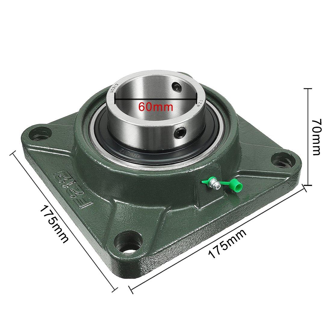 sourcingmap/® 2pcs Roulement lisse UCF204 20mm mont/é /à embase carr/ée Ours