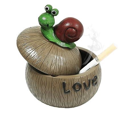 Cenicero para cigarrillos Cenicero creativo y pesado con tapa para el hogar, jardín y bar