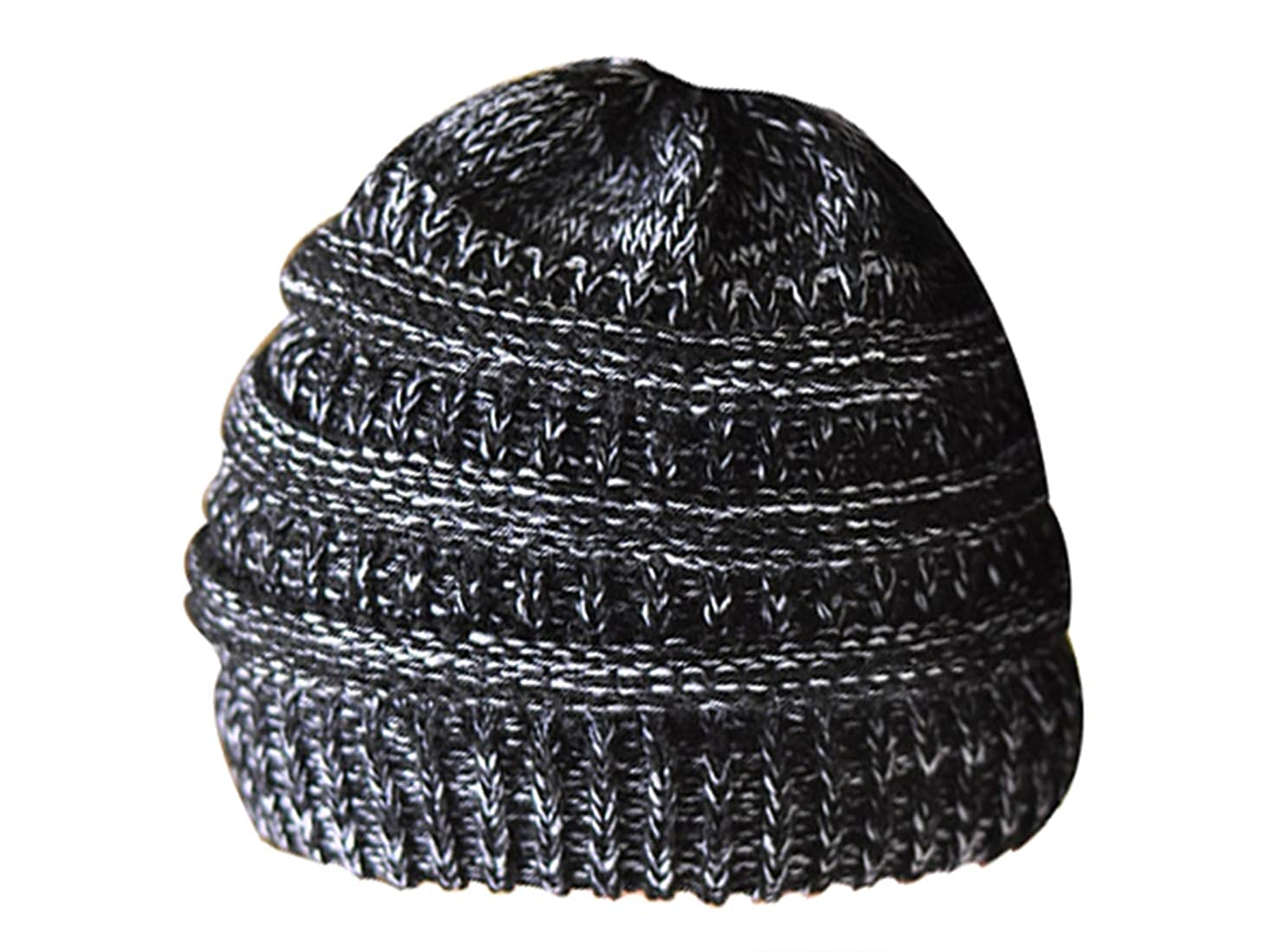 daba07bd9f321 Womens Ponytail Messy Bun Beanie Solid Ribbed Hat Cap for Winter Autumn  (Black)  Amazon.co.uk  Clothing