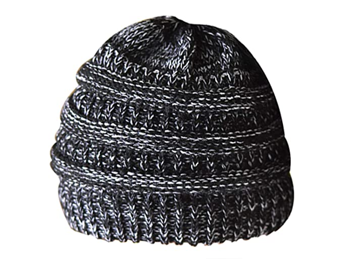 dc324903700 Womens Ponytai Knit Caps Warm Soft Messy Bun Beanie Solid Ribbed Hat Cap  Pony Tail Hair Free Cap horsetail Autumn Winter at Amazon Women s Clothing  store