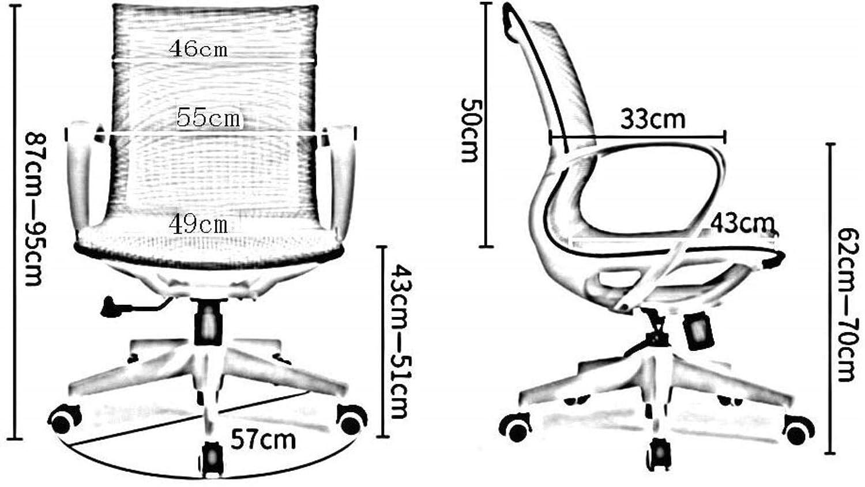 Xiuyun kontorsstol spelstol nät bekväm datorstol, ergonomi midjeskydd personalkonferens svängbar stol ryggstöd hushållsstol (färg: svart) Svart