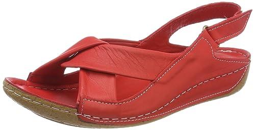 Andrea Conti 0025782 - Sandalias con Punta Abierta de Cuero Mujer, Color Rojo, Talla 39 EU