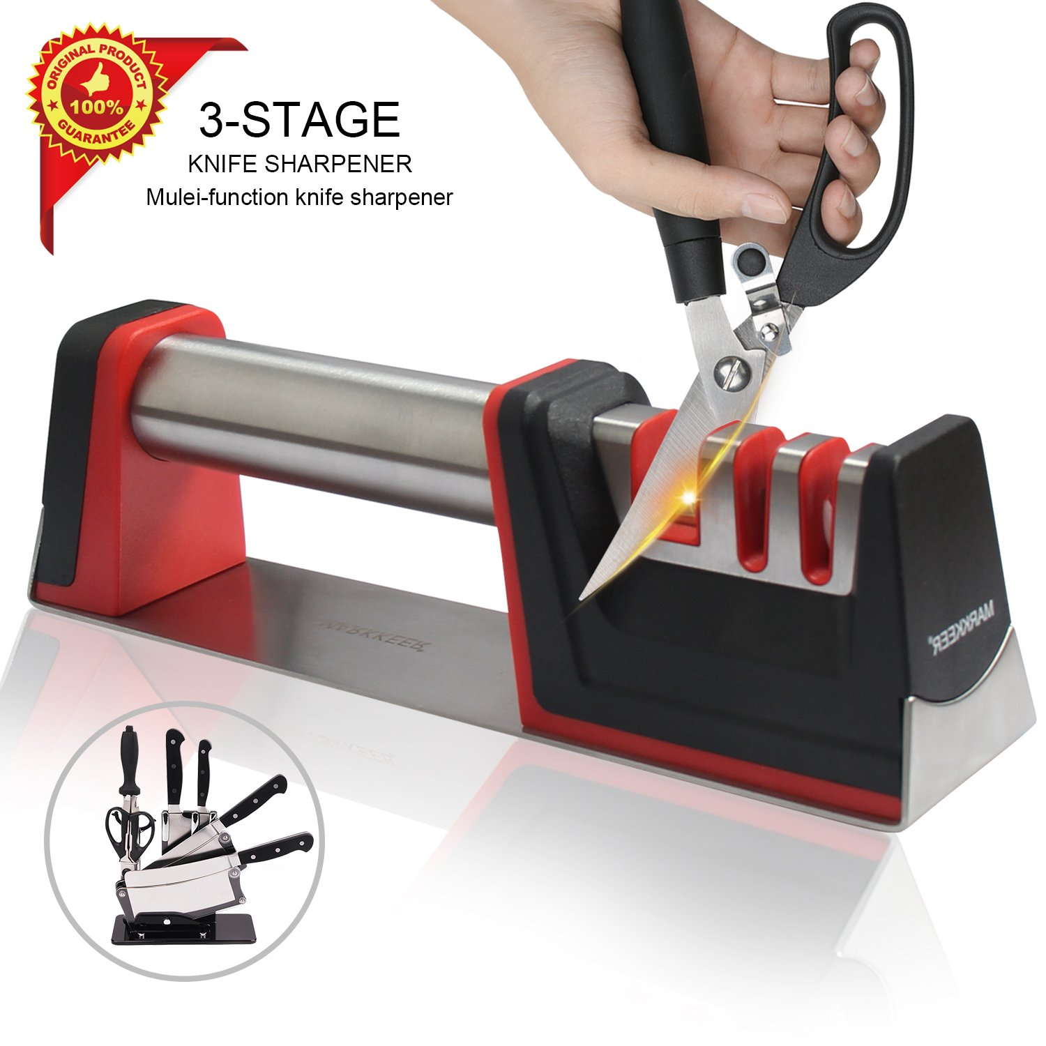 Landtaix Upgrade Kitchen Chef Knife Sharpener Scissors 304 Stainless Steel handle,3-Stage Knife Sharpening Tool Helps Repair,Restore The Most Professional Knife Sharpeners Safe and Easy to Use