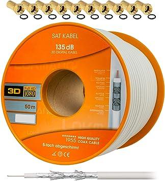 25m 135dB 5-fach 3D 4K 5K HDTV REINES KUPFER SAT DIGITAL Antennen KABEL KOAXial