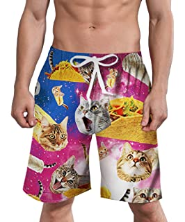 d5a87ad0bb RAISEVERN Mens Swim Trunks 90's Clothes Beach Board Shorts Quick Dry  Beachwear Swim Shorts with Mesh