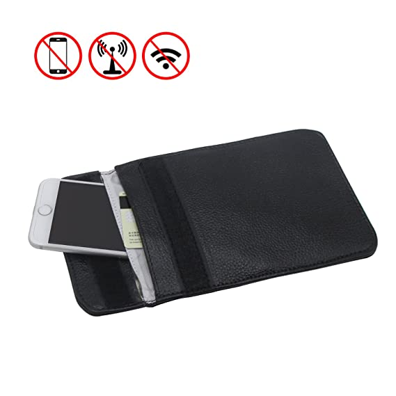e0a26e75e RFID Signal Blocking Bag Genuine Leather RFID Signal Shielding Pouch Wallet  Case for Cell Phone Anti