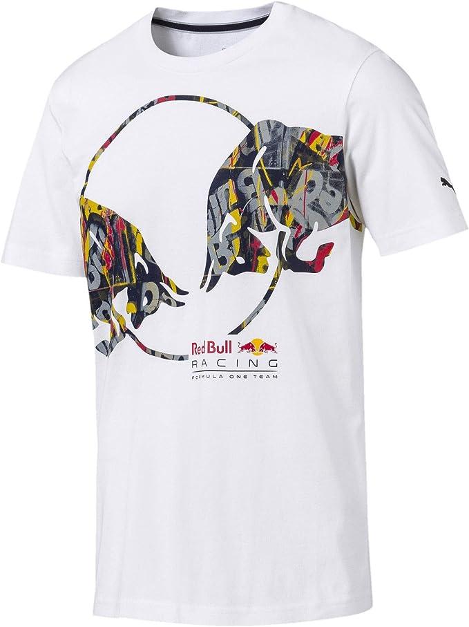 Puma Red Bull Racing Herren Double Bull T Shirt Puma White S Bekleidung