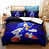 SOEWBBER Kids Sonic The Hedgehog Game Bedding Duvet Cover Set Twin Size 3D Cartoon Blue Bed Decor for Boys, 1 Duvet Cover 1 Pillowcase