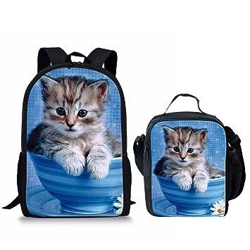 8090b38bbf9 HUGS IDEA Cute Teacup Cat Print Children School Backpack with Lunch Bag Set  2 Pcs