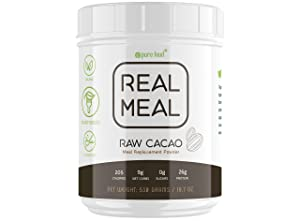 Pure Food Real Meal Replacement Powder | Organic, All Natural, Plant-based | 26g Protein, High Fiber, Low Carb, No Sugar, Free of Gluten, Dairy, Soy | Raw Cacao Flavor | 530 Gram (1.2 Pound) Tub