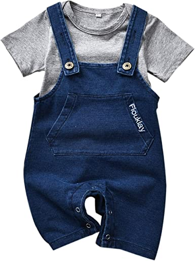 Cute Baby Boys Clothes Toddler Whale Jeans Romper Set with Blue Short Sleeve T-Shirt