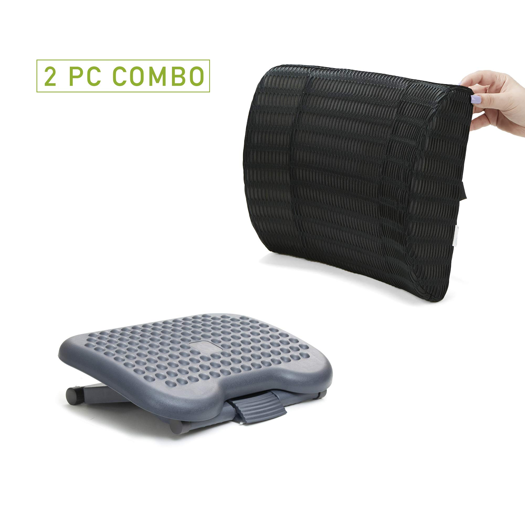 Mind Reader CMBFTFOAM-BLK Memory Foam Lumbar Support Back Cushion for Lower Back Pain Relief with Height Adjustable Ergonomic Non Slip Foot Rest,Black