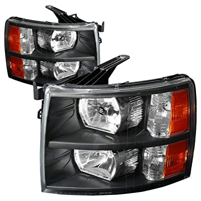 DNA Motoring HL-OH-CSIL07-BK-AM Headlight (Driver and Passenger Side) [For 07-14 Chevy Silverado]: Automotive