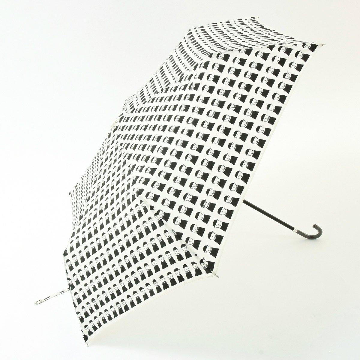 (ピッコーネ アッチェッソーリ) PICONE ACCESSORI 雨用折畳傘 50cm ポリエステル100% 連続司祭柄 683PI421 ブラック B07DK1FYDL ブラック ブラック