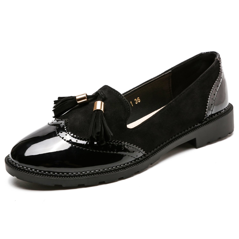 Candollar Women's Tassel Slip-On Comfortable Pointy Toe Oxford Low Heel Shoes