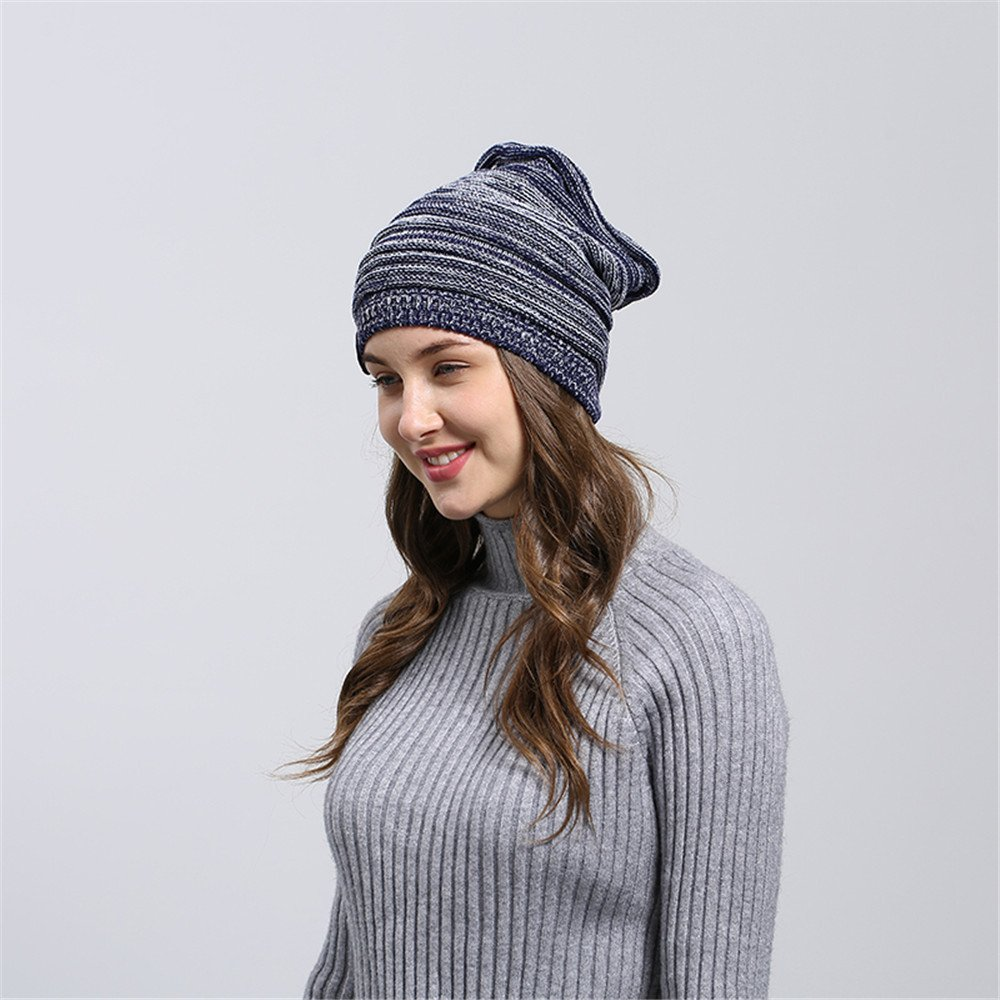 HULKAY Unisex Caps Premium Soft Stretch Pleated Warm Hooded Wool Knitted Hat(Navy) by HULKAY (Image #4)