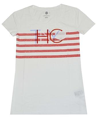 b9fec9e272d2 Tommy Hilfiger - T-shirt - À Rayures - Manches Courtes - Femme Blanche 42