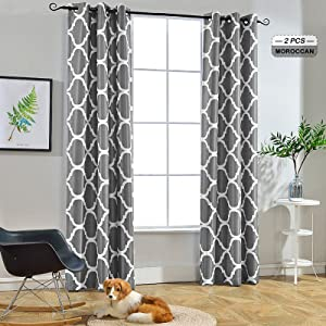 Melodieux Moroccan Fashion Thermal Insulated Room Darkening Blackout Grommet Curtains for Living Room, 42 by 84 Inch, Grey (2 Panels)
