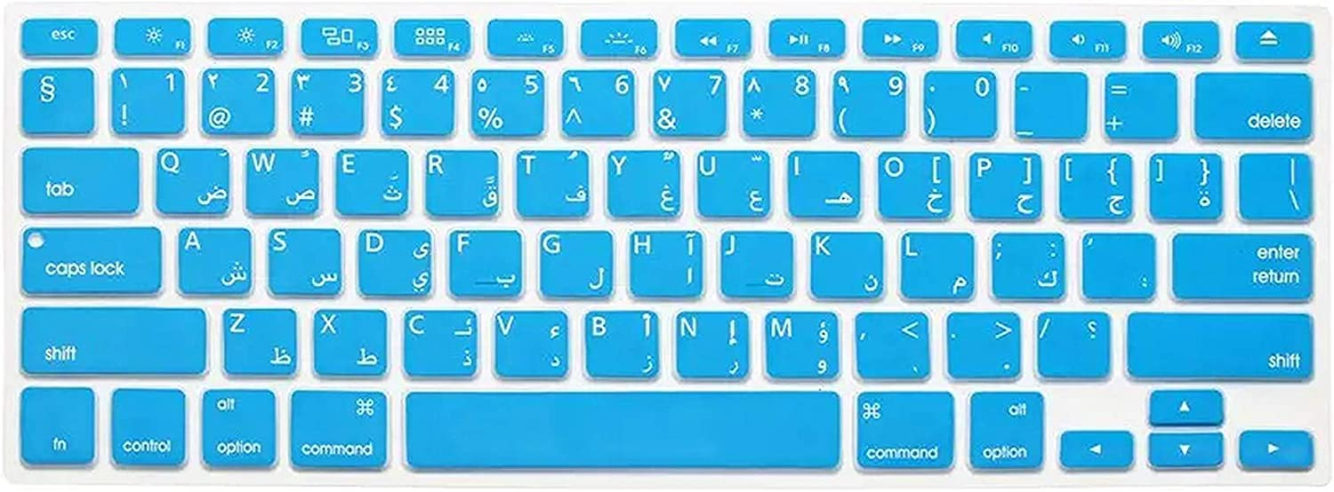 2Pc//Lot Arabic//English Silicone Keyboard Skin Cover for MacBook Air Retina Pro 13 15 17 A1278 A1398 A1466 Us Version-Sky Blue