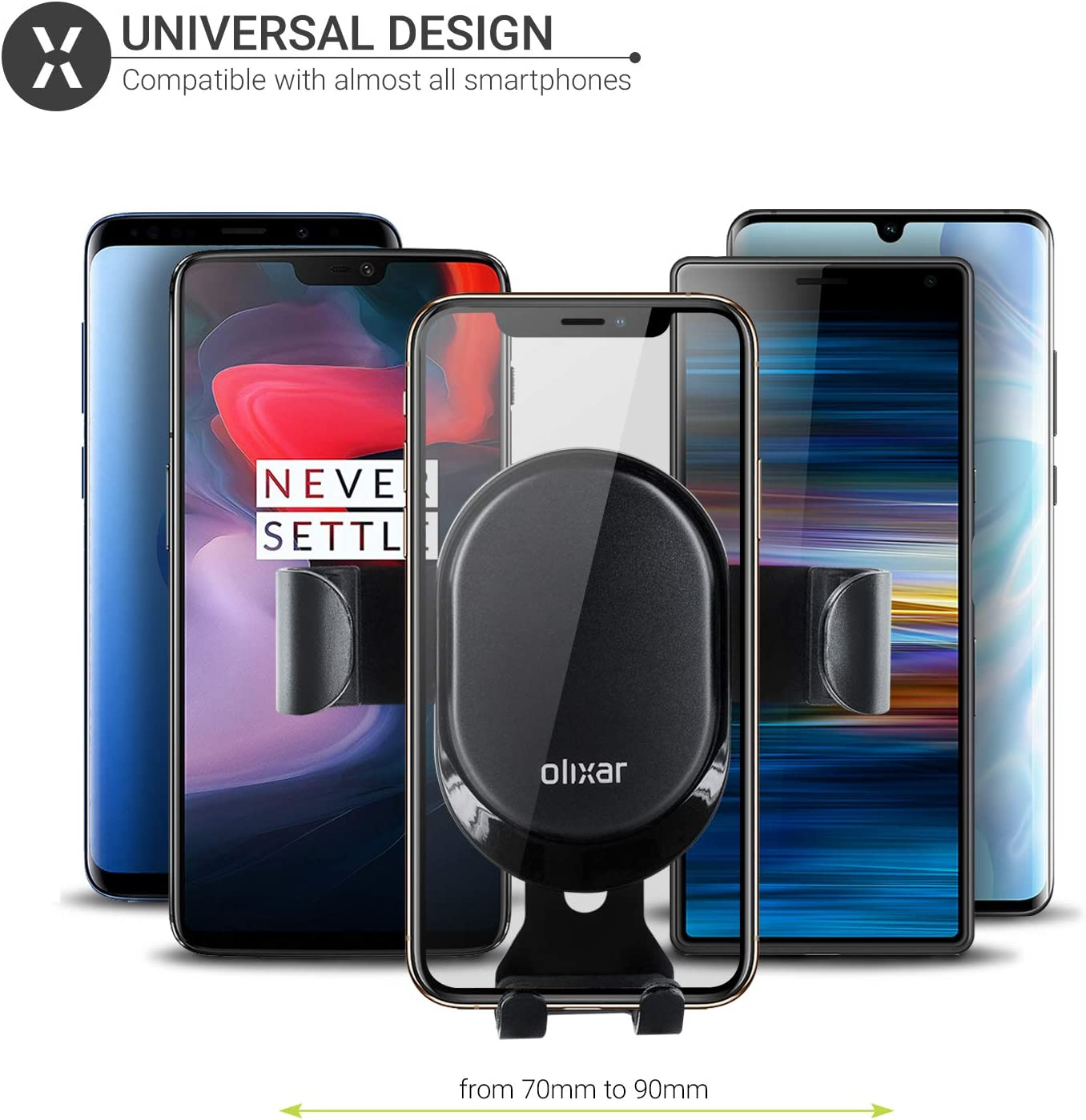Huawei Devices and More Invent Samsung Galaxy Olixar Air Vent Phone Holder Universal Smartphone Car Dock for iPhone Black Motorola Gravity Car Air Vent Mount with Auto Grip