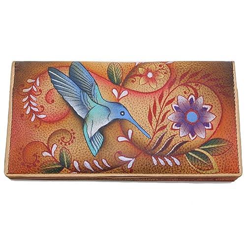 AnUSCHKA pintado a mano del cuero genuino Delgado dos veces la cartera (Flying Jewels Tan