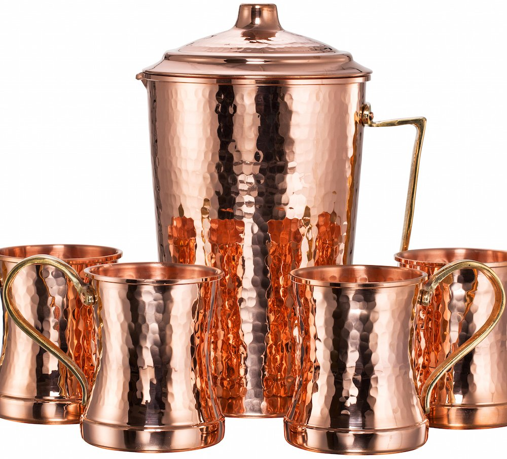 NEW DEMMEX CopperBull Heavy Gauge 100% Pure Solid Hammered Copper Moscow Mule Water Serving Set (Pitcher & 4 Mugs) by DEMMEX